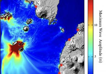 Tsunami et glissement de flanc au Krakatau