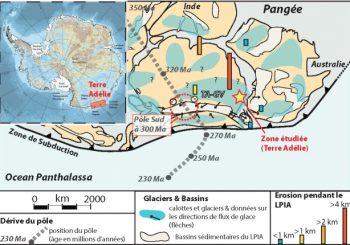 L'érosion de l'Antarctique de l'Est est essentiellement due à la phase glaciaire de la fin de l'Ere Primaire