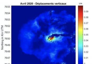 Éruption du Piton de la Fournaise observée depuis l'espace